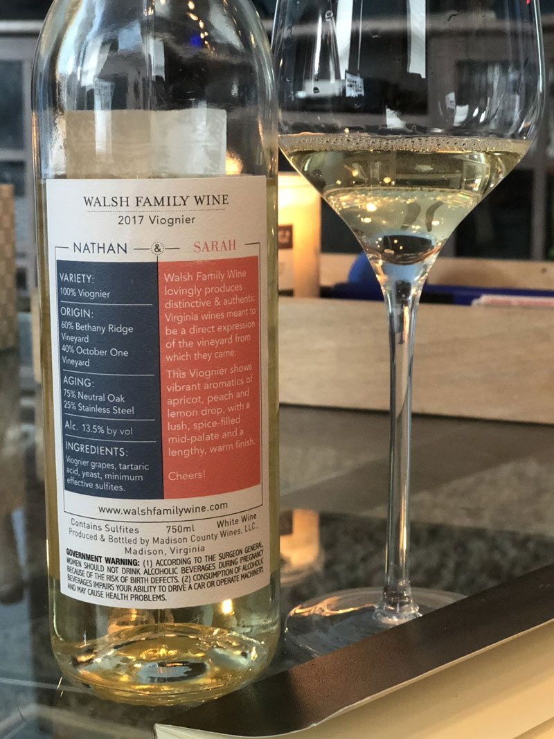 Walsh Family Wine 2017 Viognier Back Label