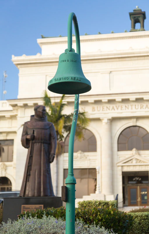 Father Junipero Serra statue in front of Ventura or San Buenaventura city hall in California