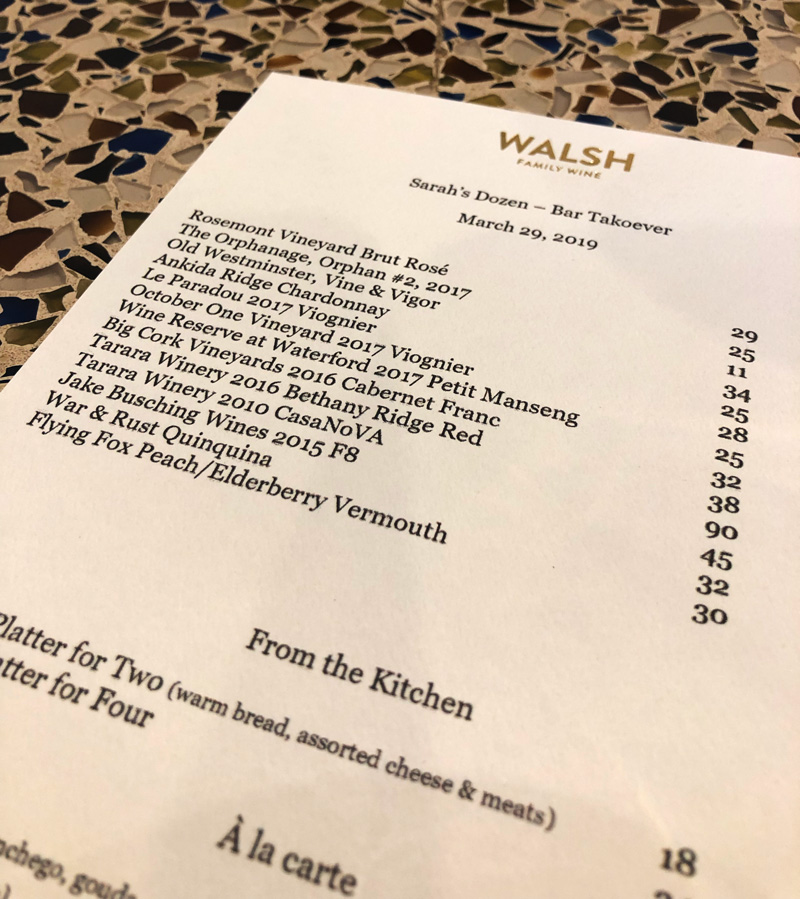 Walsh Family Wines Bar Takeover Menu