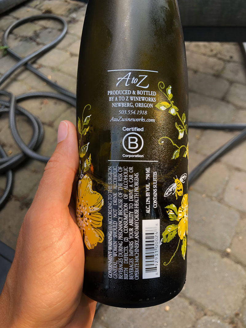 2018 A to Z Riesling back label